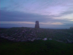 Rubbish pic of the trig point in the gathering gloom!